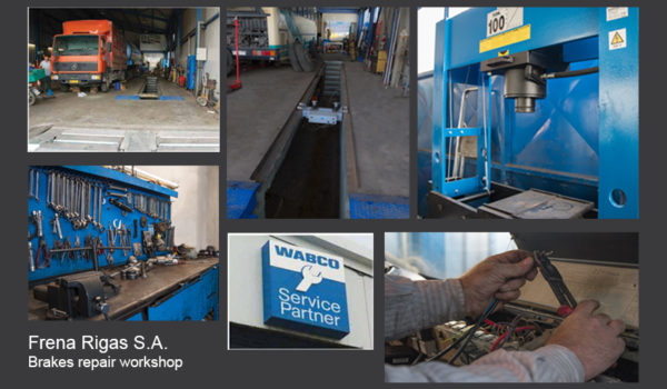 Electronic repair services, Wabco Service Partner external logo, workbench with tools, brake tester machine